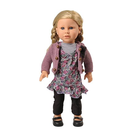 Today's Girl 4 Piece Very Violet Clothing Set with Dress and Sweater – Fits All 18 Inch Dolls..., By Constructive Playthings Ship from US