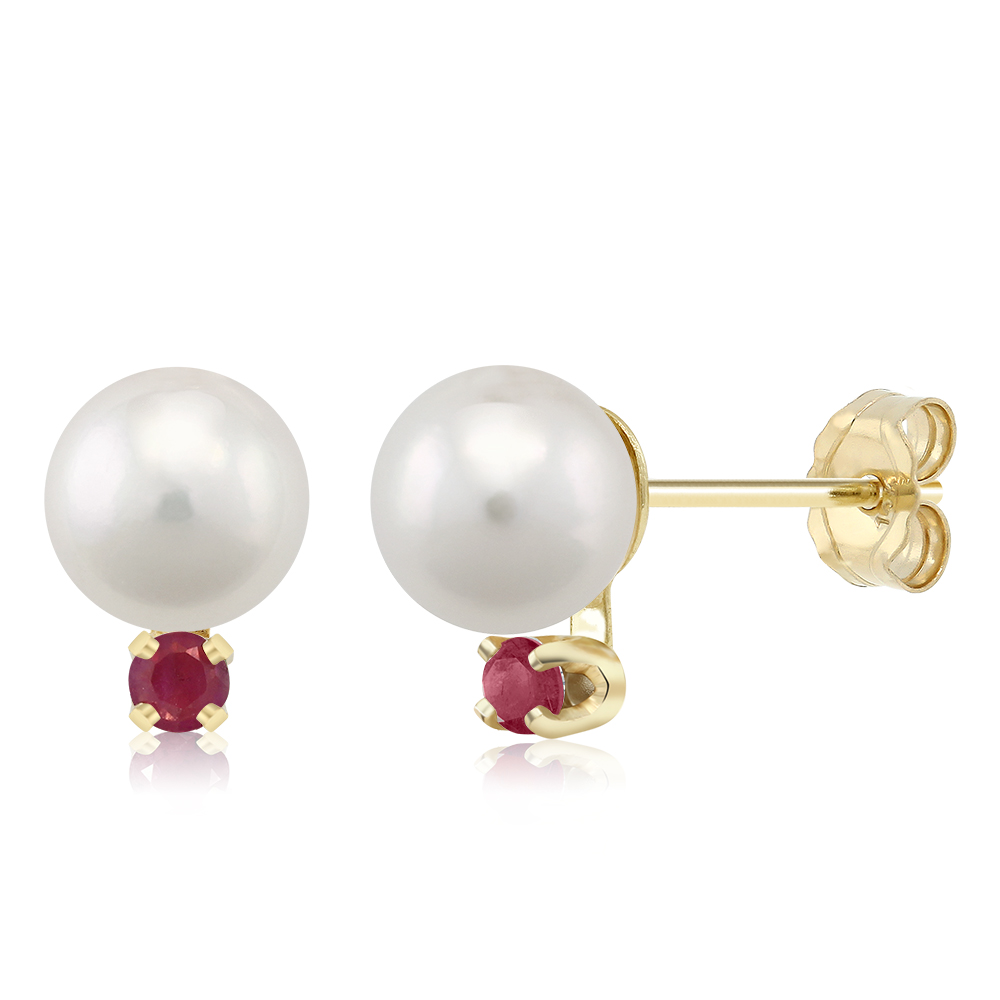 7mm Cultured Akoya Pearl Earrings with Ruby Accents Set In 14K Yellow Gold