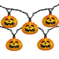 10 Orange Jack-o'-Lantern Mini Halloween Lights - 6 ft Black Wire