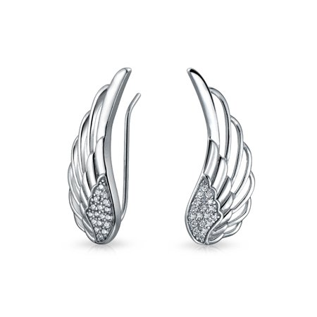 Guardian Angel Wing Feather Ear Pin Climbers Earrings For Women Round Cubic Zirconia Pave CZ Crawler 925 Sterling Silver - Angel Wings Earrings