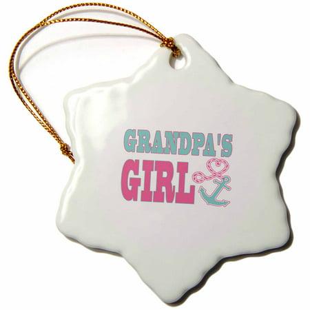 3dRose Grandpas Girl Cute Anchor and Heart Rope Pink and Aqua - Snowflake Ornament, 3-inch](Cute Snowflakes)