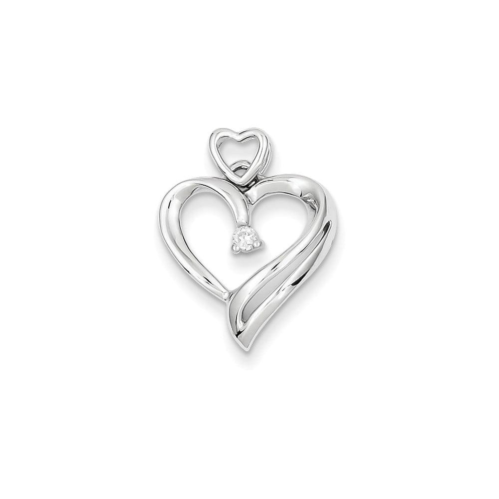 14k White Gold Diamonds Heart Pendant. Carat Wt- 0.04ct