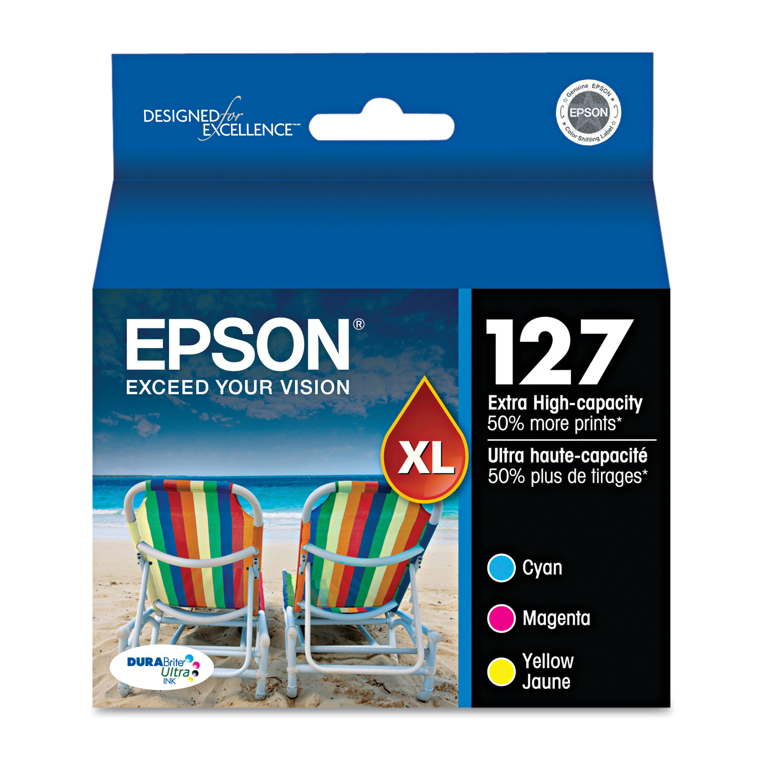 Epson 127 DURABrite Ultra Extra High-Yield Ink, Cyan/Magenta/Yellow, 3/PK