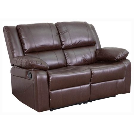 2 Piece Fabric Loveseat - Flash Furniture Harmony Series Brown Leather Loveseat with Two Built-In Recliners