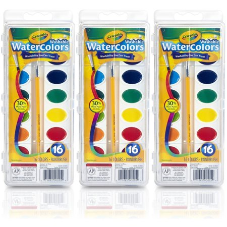 Crayola Washable Watercolor Paint Plastic Box With A Plastic Handle Paint Brush 16 Colors (Pack Of 3)