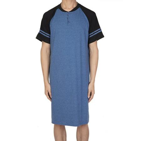 Sleep Lounge Short (LELINTA Cotton Sleep Shirt Men Crew Neck Nightshirts Short Sleeve Shirt Lounge Sleepwear Blue)