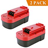 Biswaye 2 Pack 18V 3000mAh NI CD Battery for Black Decker HPB18 OPE 18 Volt Slide Pack Battery and 18 Volt O