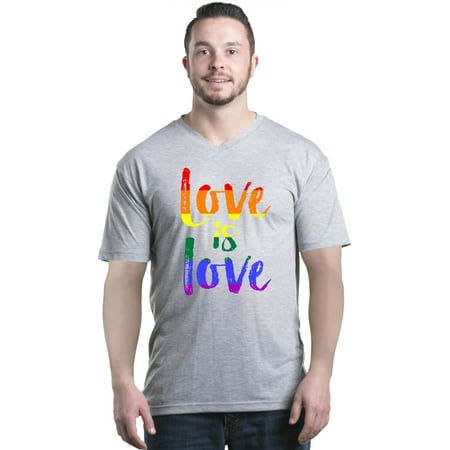 Shop4Ever Men's Love is Love Rainbow Gay Pride V-Neck T-Shirt Shirts