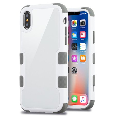 sale retailer ce174 0b449 iPhone X Case Screen Protector, by Insten Tuff Dual Layer Hybrid Tempered  Glass/TPU Case Cover For Apple iPhone X, White/Gray (Combo with Mirror ...