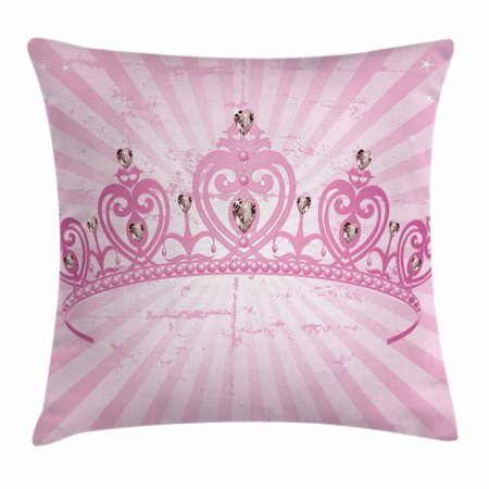 Queen Throw Pillow Cushion Cover, Childhood Theme Pink Heart Shaped Princess Crown on Radial Backdrop Girls Room, Decorative Square Accent Pillow Case, 16 X 16 Inches, Pink Light Pink, by (Square Heart Shaped Face)