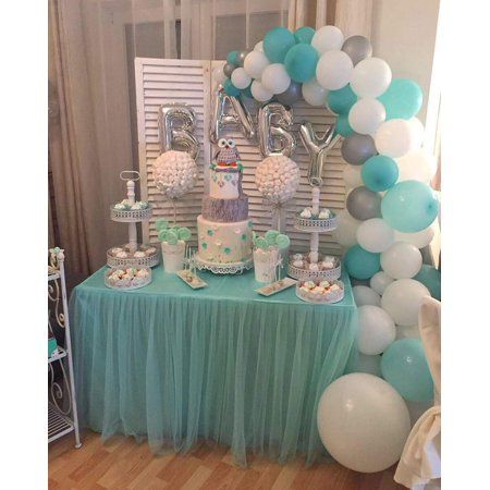 LAttLiv Balloons 56 Pcs Baby Shower Boy Balloons Latex & Foil/Mylar Letters Balloons Baby Boys Birthday Balloons Party Decoration for Baby Shower Birthday Baptism Christening- Sliver & Ivory & Turquis