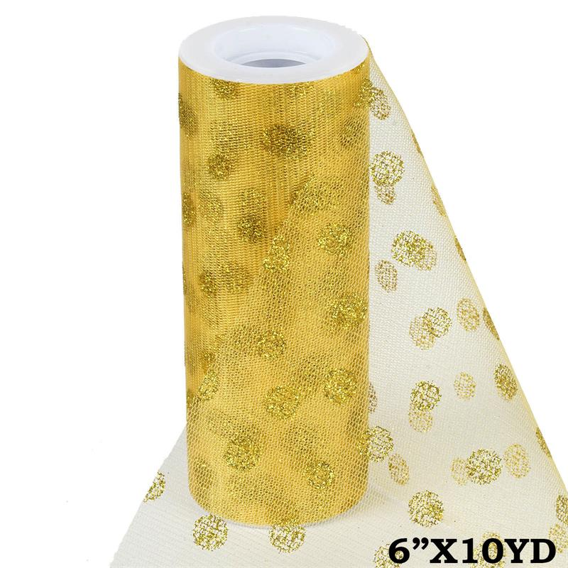 6 inch x 10 yards Glittered Polka Dot Tulle - Gold