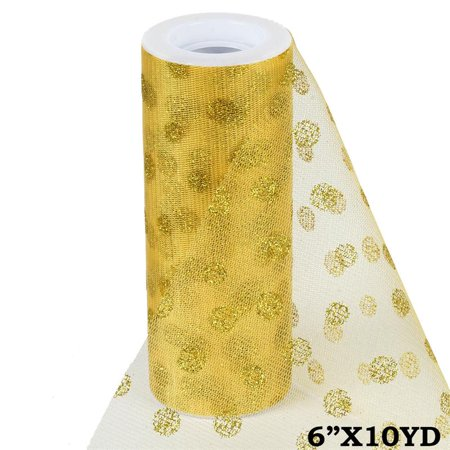 6 inch x 10 yards Glittered Polka Dot Tulle - Gold ()