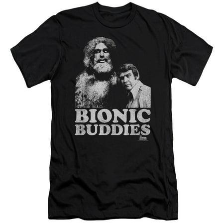 The Six Million Dollar Man Sci-Fi TV Show Bionic Buddies Adult Slim T-Shirt Tee