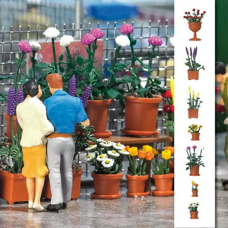 Detail Set Ho Scale (Busch HO Scale Flowerpot Sets Flowers Model Train Scenery Detail Kit)