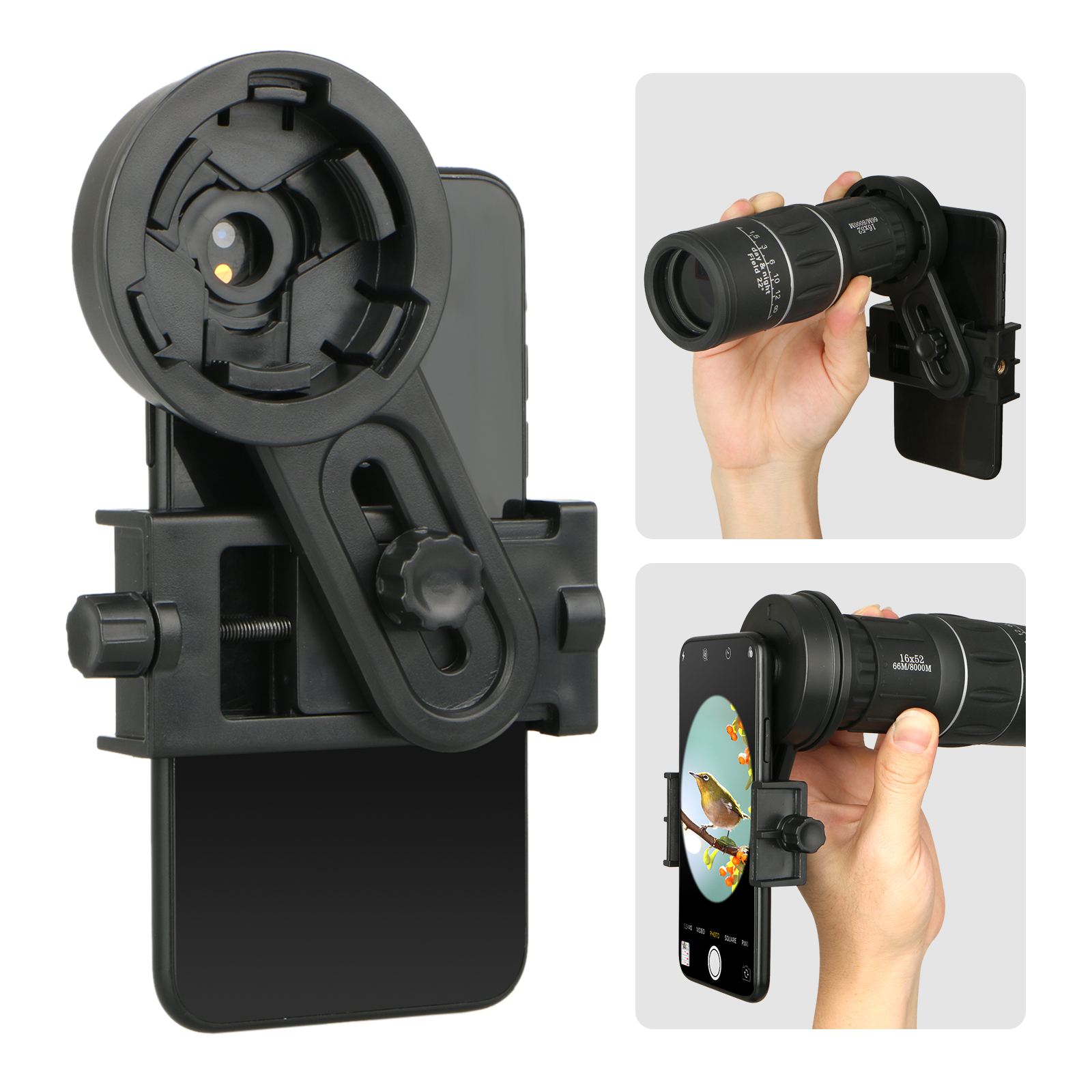 ESSLNB Cell Phone Adapter Mount Spotting Scope Universal Cell Phone Adapter for Telescope Sucker Mobile Device Holder 180/°Angle and Length Adjustment for Binoculars Monocular