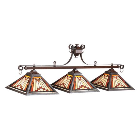 Stained Glass Billiard Light Shade - Laredo Tiffany 54W Inch Pool Table Light