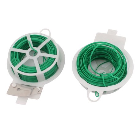 Unique Bargains 2pcs 30Meters 98Ft Flexible Twist Tie Reel Green Plant Tie-Line Spool