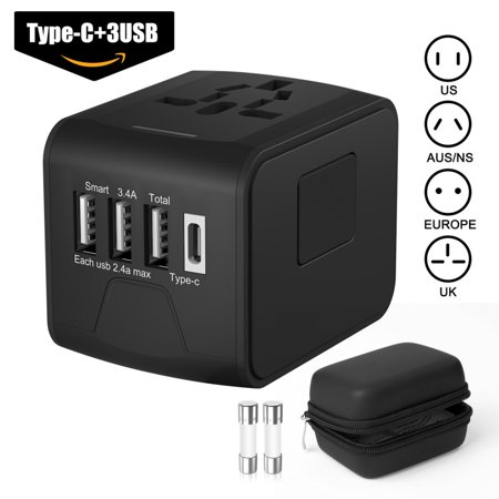 Mancro International Travel Adapter Universal Power Adapter Worldwide All in One 4 USB with Electrical Plug Perfect for European US, EU, UK, AU 150+