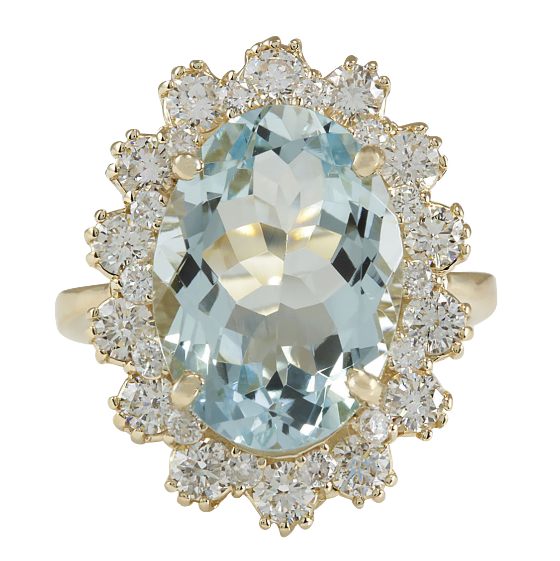 7.11CTW Natural Aquamarine And Diamond Ring In 14K Solid Yellow Gold by