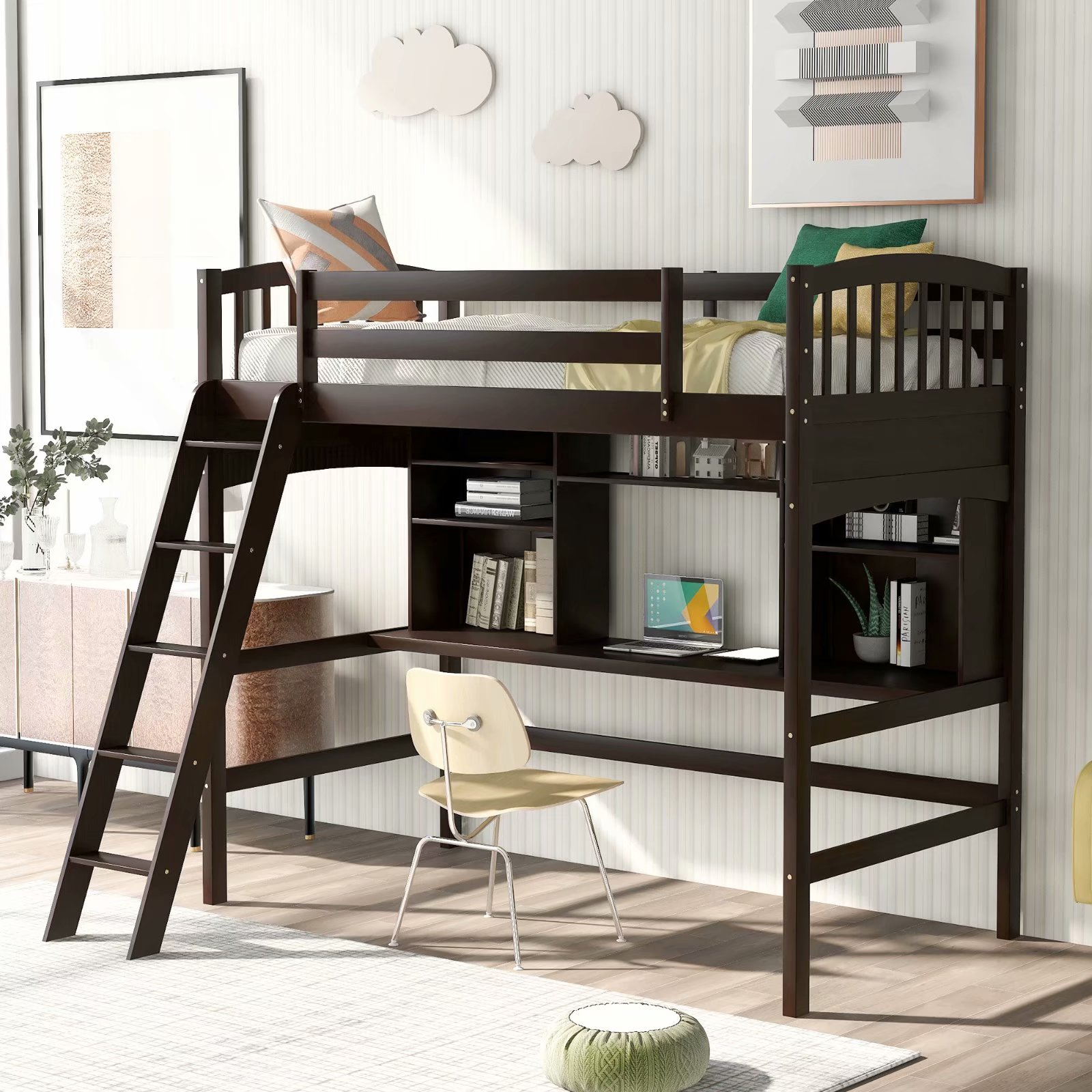 Everking Twin Size Loft Bed With Desk Solid Wood Loft Bunk Bed With Storage Shelves Angled And Built In Ladder For Kids And Teens No Box Spring Needed Walmart Com Walmart Com