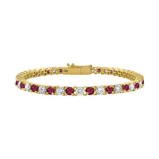 Fine Jewelry Vault UBUBRAGVYRD131200CZR Created Ruby and Cubic Zirconia Tennis Bracelet in 18K Yellow Gold Vermeil. 2CT.... by Fine Jewelry Vault