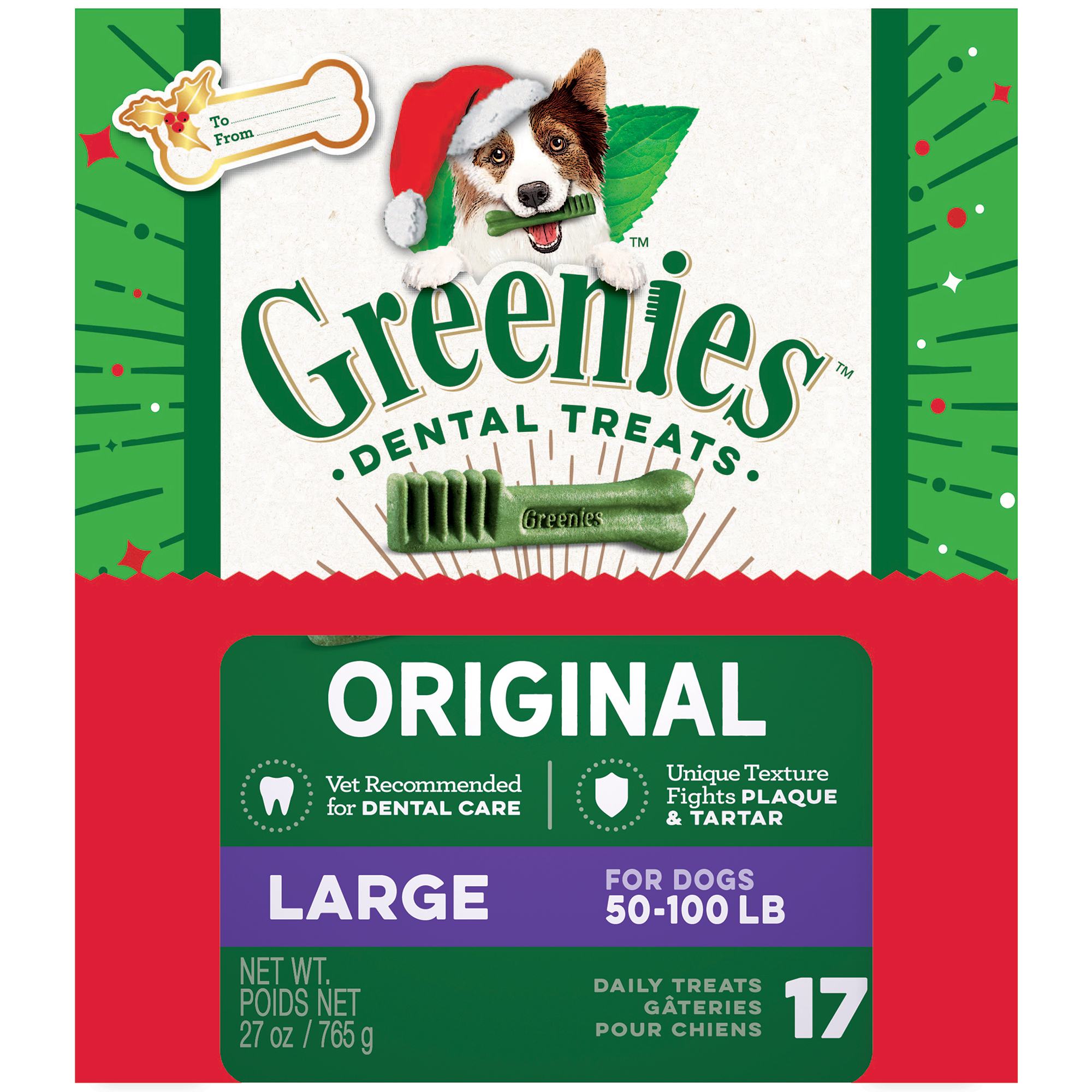 GREENIES Holiday Limited Edition Packaging Large Dog Dental Treats, 17-Count, 27 oz. Box