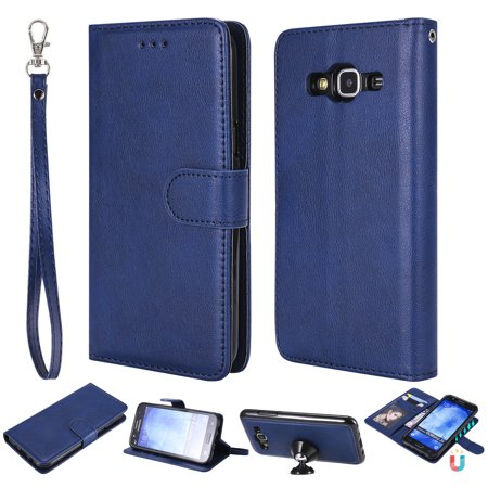 Galaxy S5 Case Wallet, S5 Case, Allytech Premium Leather Flip Case Cover & Card Slots Pocket, Wrist Design Detachable Slim Case for Samsung Galaxy S5 G900A (Blue) (Samsung S5 Otter Box Wallet Case)