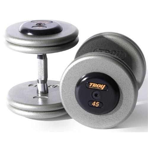 Troy Barbell HFD-27. 5R Pro-Style Dumbbells - Gray Plates And Rubber End Caps - 27. 5 Pounds Each - Sold as Pairs