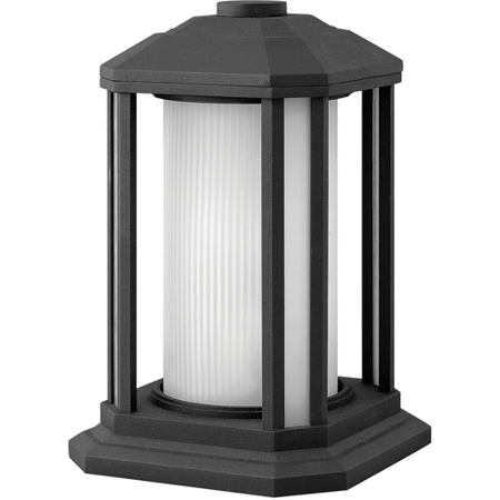 Outdoor Post 1 Light With Black Ribbed Etched Cylinder Cast Aluminum Medium Base 13 inch 100 Watts