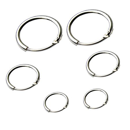 New Womens Beauty Fashion Silver Small Large Hoop Drop Round Durable Earrings (8mm)