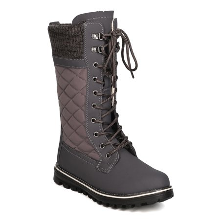 New Women Refresh Polar-01 Mixed Media Mid-Calf Quilted Lace Up Winter Boot