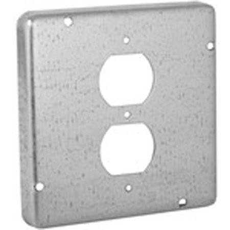 """Hubbell-Raco 972 4-11/16"""" Square Exposed Work Cover, (1) Duplex Receptacle"""