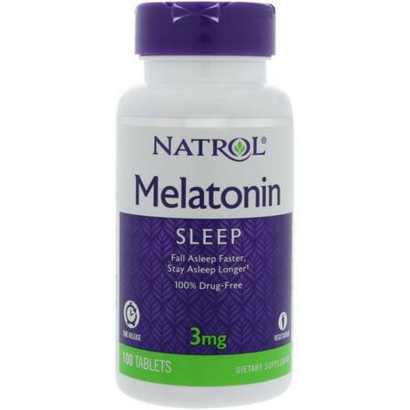 3 Pack - Natrol Melatonin 3 mg Sleep Time Release Dietary Supplement Tablets 100 -