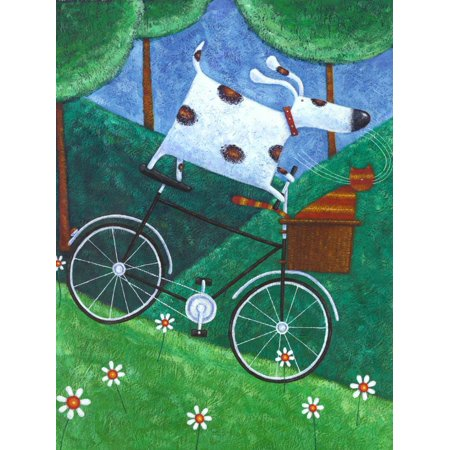 Duke's Bike Ride Whimsical Folk Art Dog and Cat Painting Print Wall Art By Peter Adderley