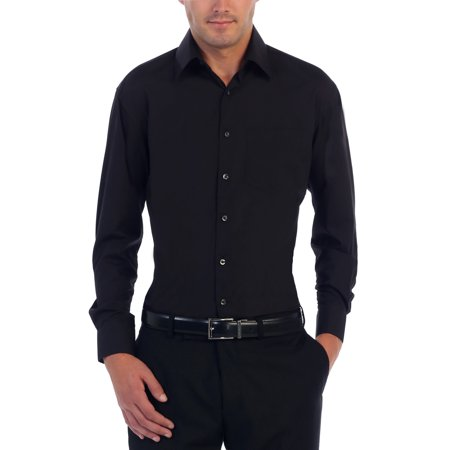 Black Paisley Dress Shirt - Men's Long Sleeve Solid Dress Shirt