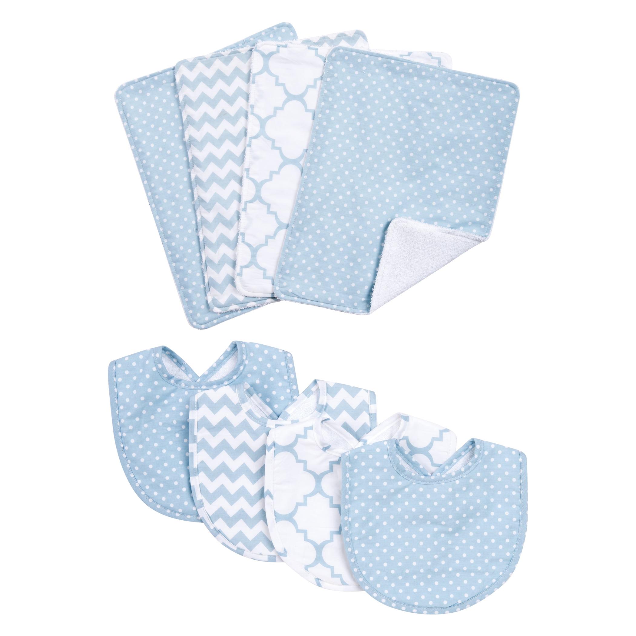 Blue Sky 8 Piece Bib and Burp Cloth Set