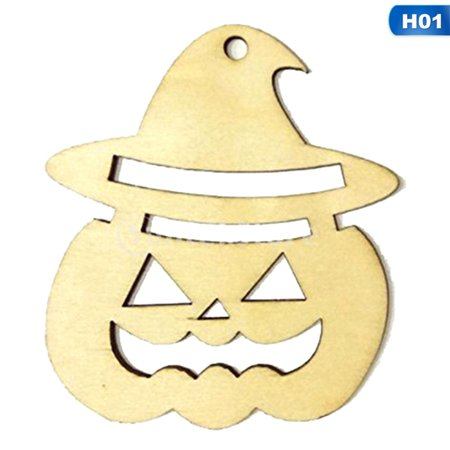 TURNTABLE LAB Halloween Unfinished Wood Miniature Accents in Box -Hat Pumpkin Ghost Face UK