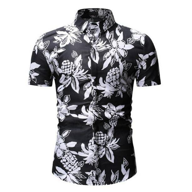 Mens Hawaii T-Shirt Summer Casual Tropical Beach Holiday Short Sleeve Floral Print Button Down Shirt