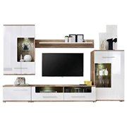 """Saala 2 Entertainment Center Wall Unit with LED Lights 60"""" TV Stand, White"""
