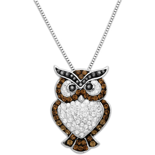 Luminesse Sterling Silver Owl Pendant made with Swarovski Elements, 18""