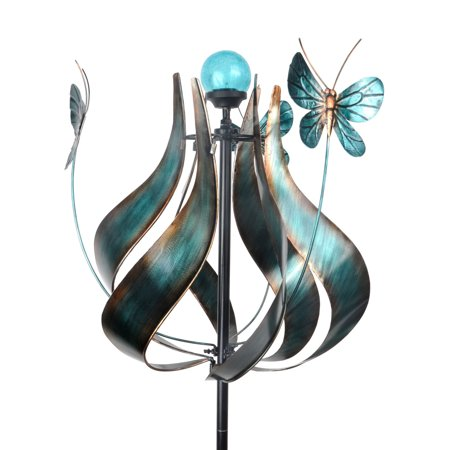 Solar Windmill - Peaktop - Outdoor Tulip Kinetic Solar Light Windmill - Teal