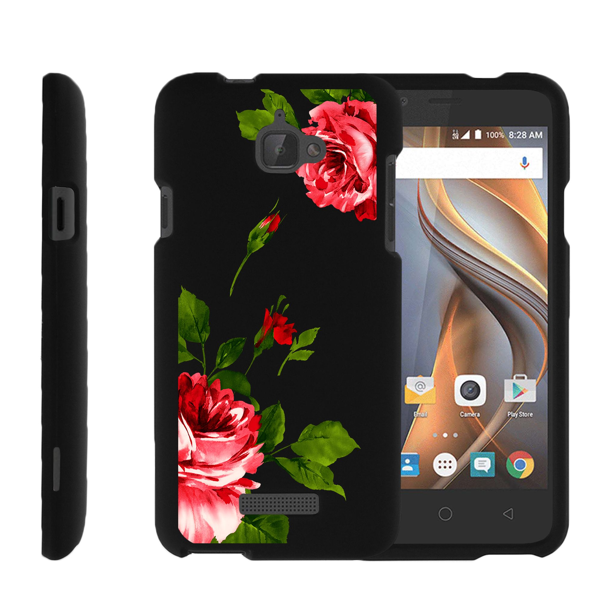CoolPad Catalyst, [SNAP SHELL][Matte Black] 2 Piece Snap On Rubberized Hard Plastic Cell Phone Cover with Cool Designs - Affectionate Flowers