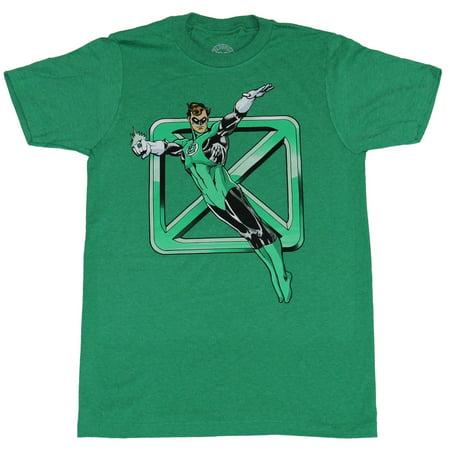 Green Lantern (DC Comics) Mens T-Shirt - Hal Jordan Jumping Over Logo (Jordan 7 Marvin The Martian For Sale)