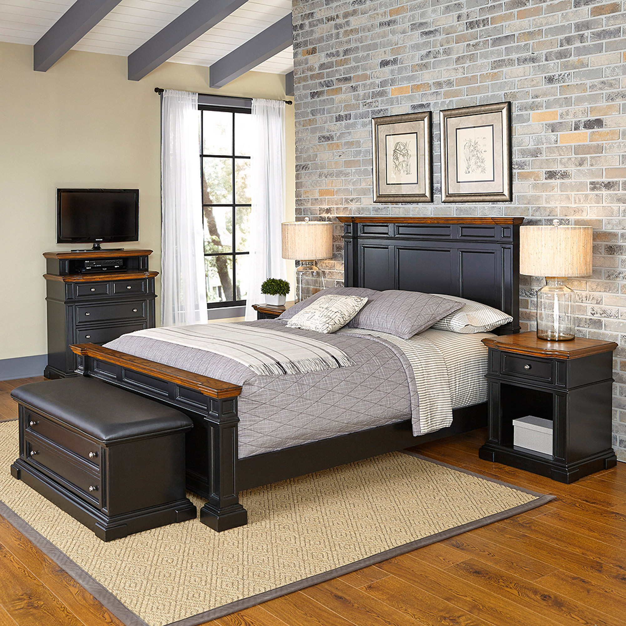 Home Styles Americana King Bed, 2 Night Stands, Media Chest and Upholstered Bench