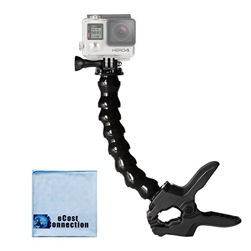 Flexible Clamp & Adjustable Neck for All Gopro Hero Cameras + an eCostConnection Microfiber Cloth