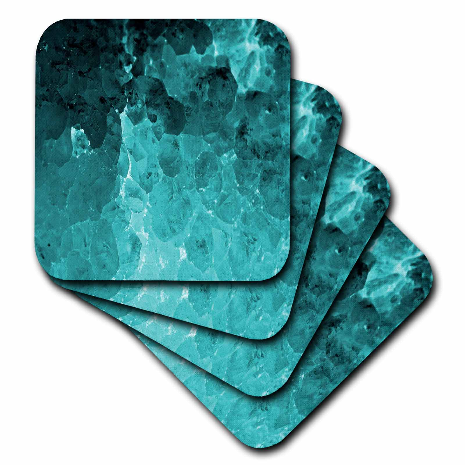 3dRose Turquoise Natural Crystal Look Soft Coasters, set of 8 by 3dRose