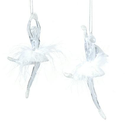 Ballerina Christmas Ornament, Assortment of 2, Acrylic, Feathers - Ballerina Christmas Ornament, Assortment Of 2, Acrylic, Feathers