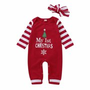 XIAXAIXU MY 1st Christmas Newborn Baby Girl Boy Stripe Romper Jumpsuit Bodysuit+Headband Outfits Clothes