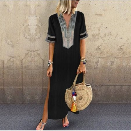 Womens Cotton Linen Maxi Dress Short Sleeve Casual Kaftan Tunic Gypsy Ethnic (Gypsy Dress Up Ideas)